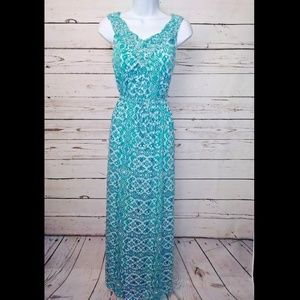 Faded glory teal/white maxi dress size small